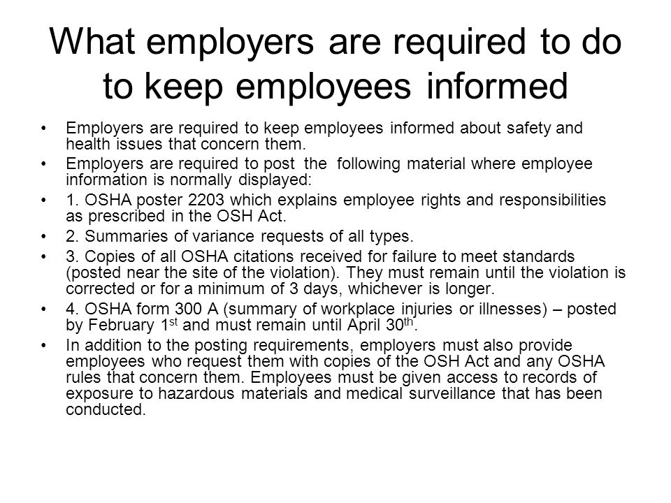 What employers are required to do to keep employees informed