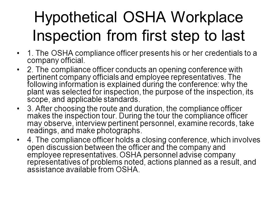 Hypothetical OSHA Workplace Inspection from first step to last
