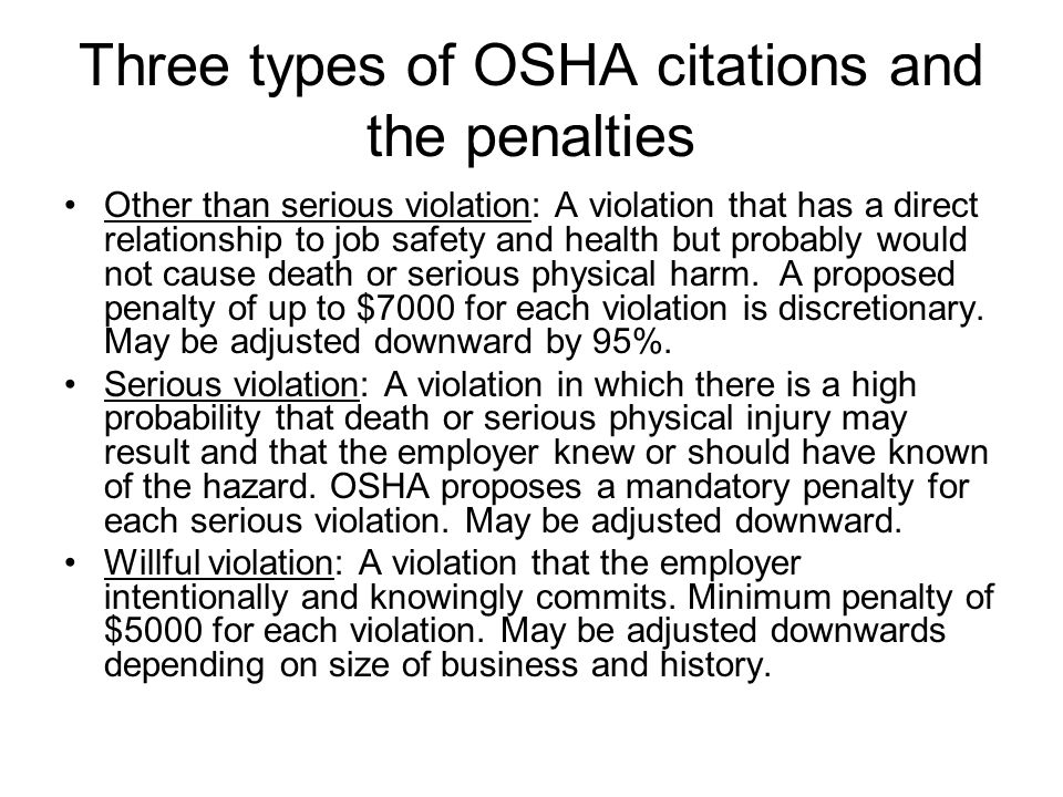 Three types of OSHA citations and the penalties