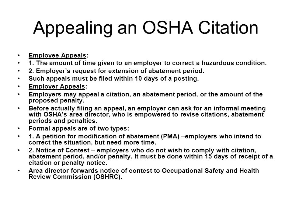 Appealing an OSHA Citation