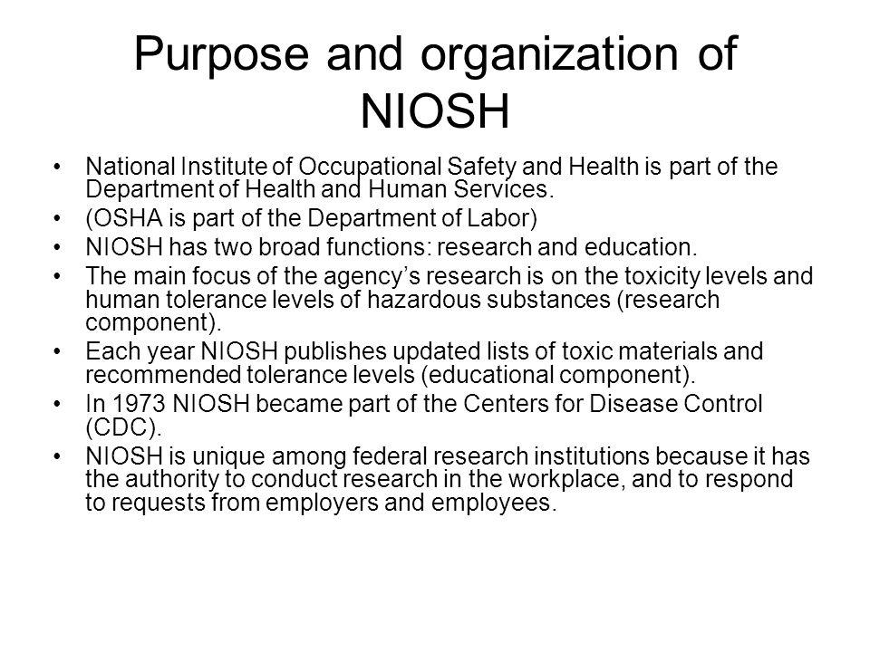 Purpose and organization of NIOSH