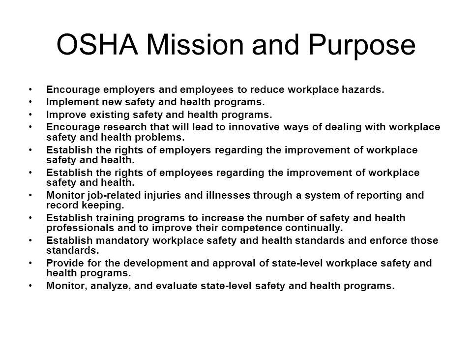 OSHA Mission and Purpose