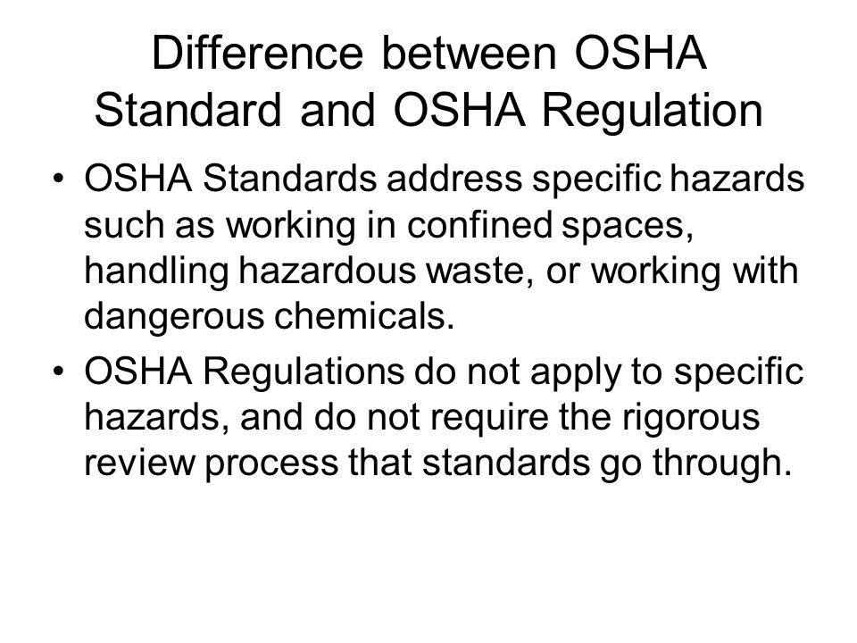 Difference between OSHA Standard and OSHA Regulation