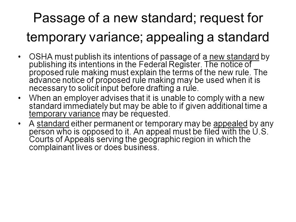 Passage of a new standard; request for temporary variance; appealing a standard
