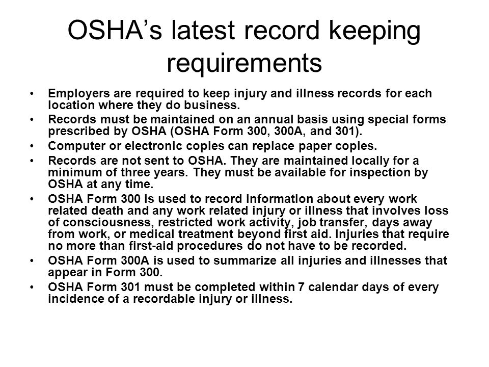 OSHA's latest record keeping requirements