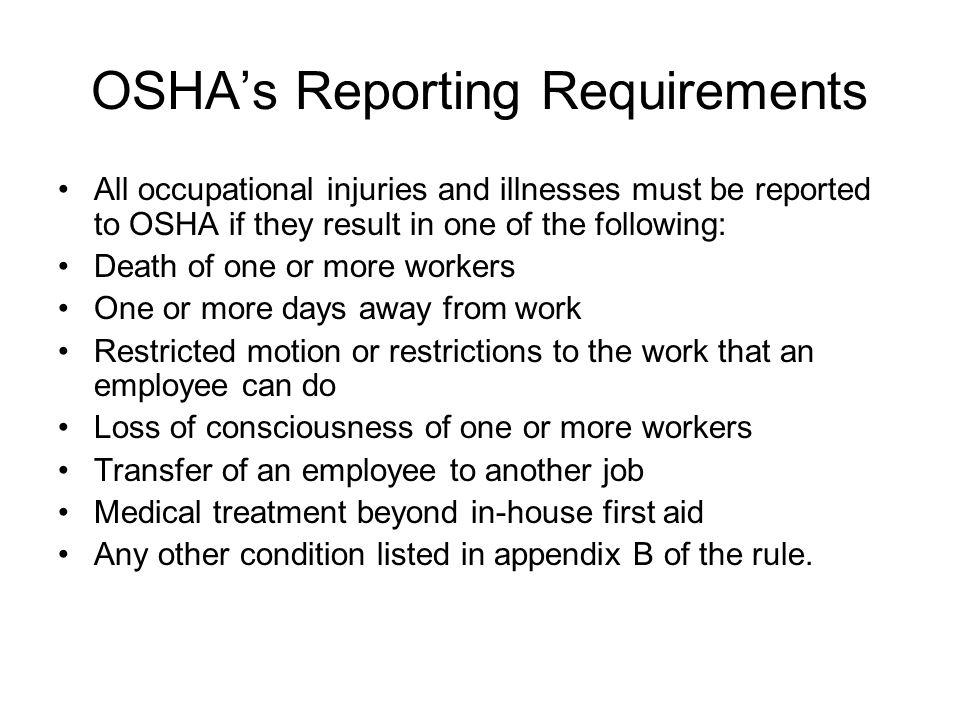 OSHA's Reporting Requirements