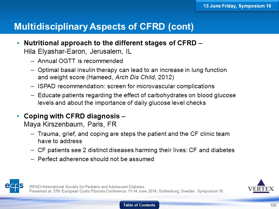 Multidisciplinary Aspects of CFRD (cont)