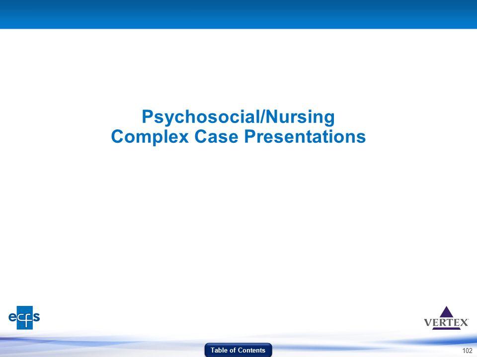 Psychosocial/Nursing Complex Case Presentations