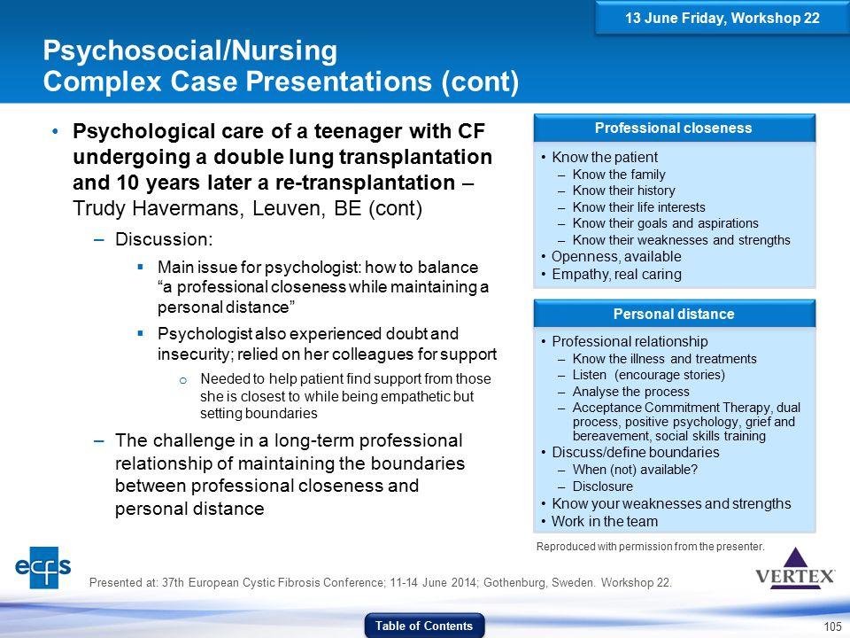 Psychosocial/Nursing Complex Case Presentations (cont)
