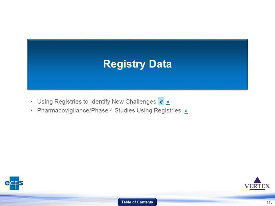 Registry Data Using Registries to Identify New Challenges »