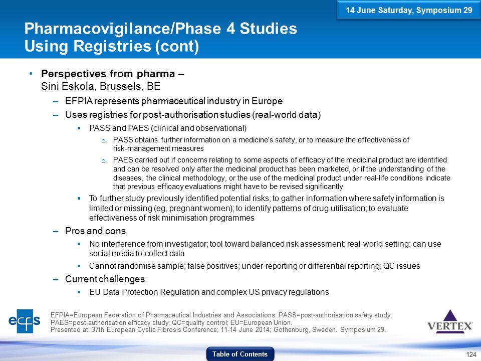 Pharmacovigilance/Phase 4 Studies Using Registries (cont)