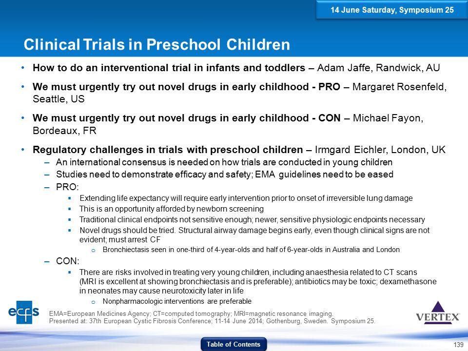 Clinical Trials in Preschool Children