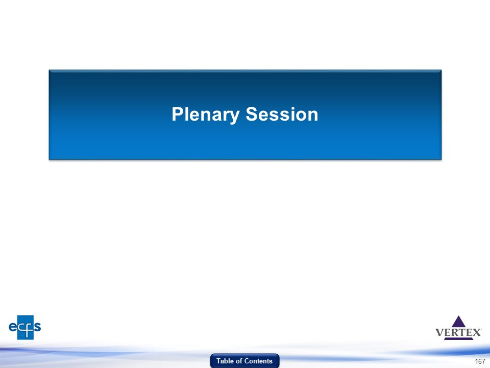 Plenary Session Table of Contents