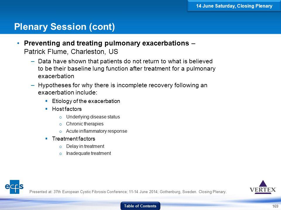 Plenary Session (cont)