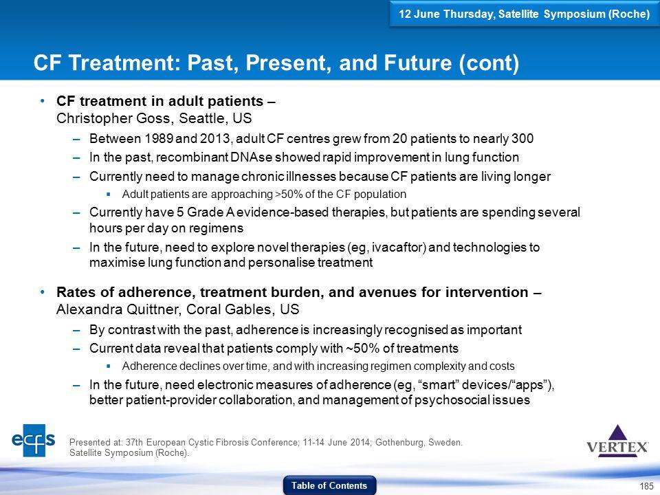 CF Treatment: Past, Present, and Future (cont)