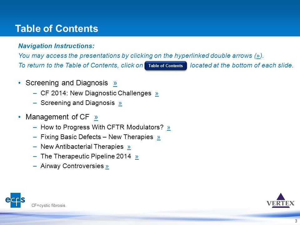 Table of Contents Screening and Diagnosis » Management of CF »