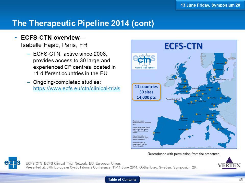 The Therapeutic Pipeline 2014 (cont)