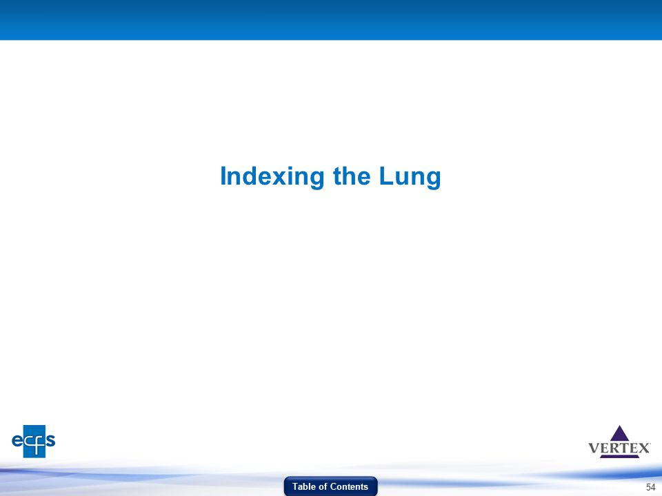 Indexing the Lung Table of Contents