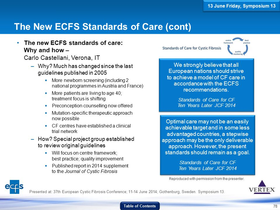 The New ECFS Standards of Care (cont)