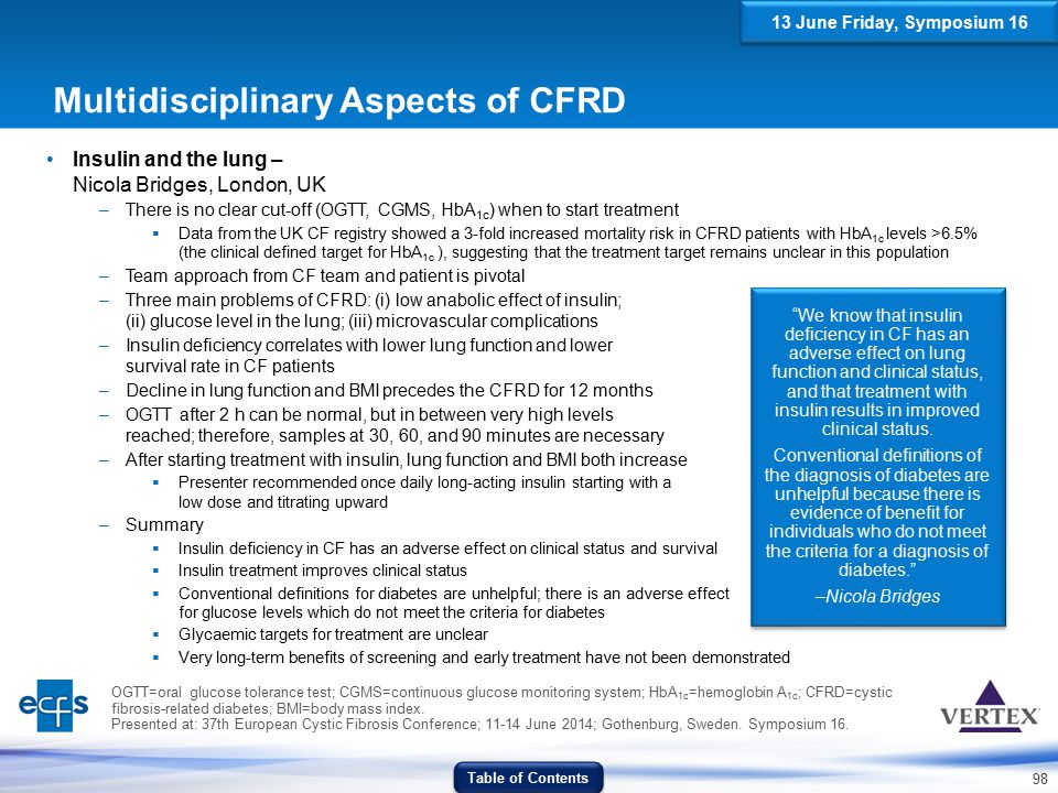 Multidisciplinary Aspects of CFRD