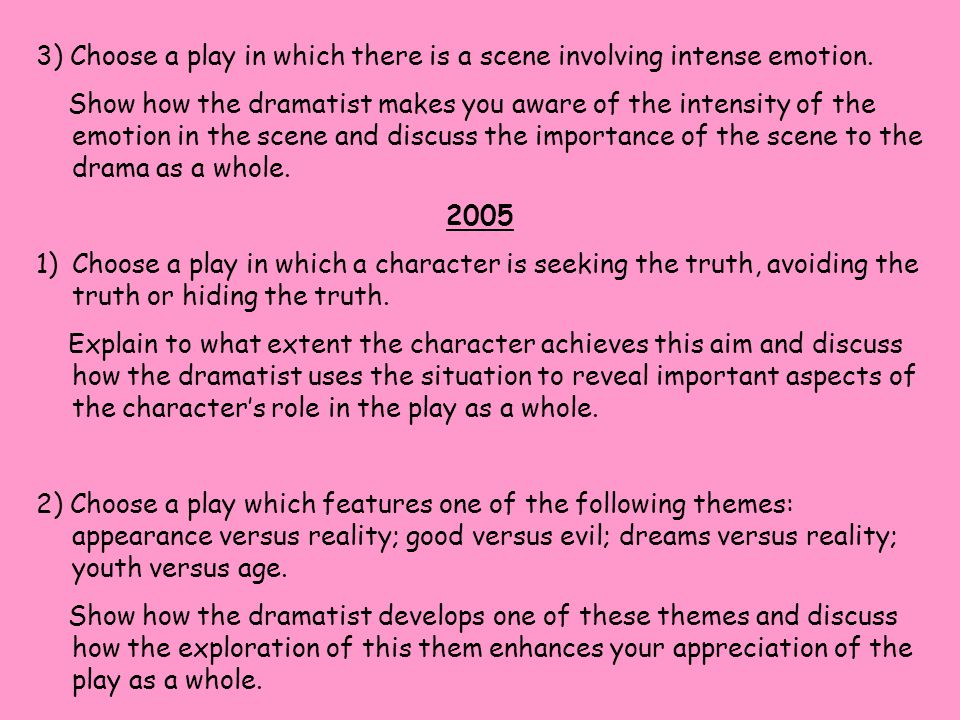 3) Choose a play in which there is a scene involving intense emotion.