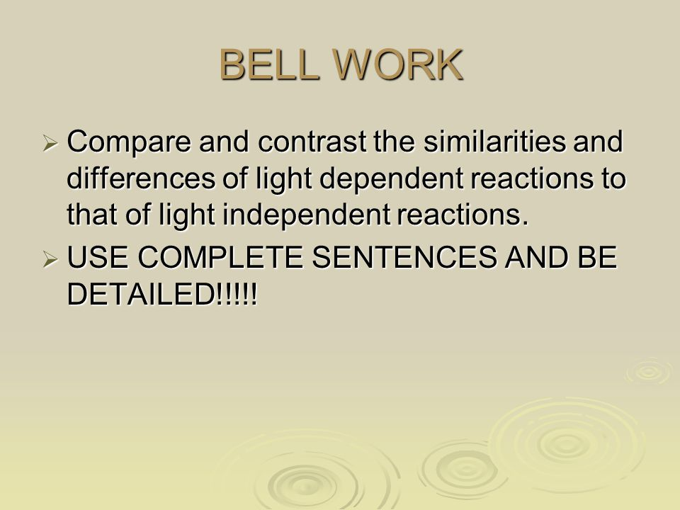 BELL WORK Compare and contrast the similarities and differences of light dependent reactions to that of light independent reactions.
