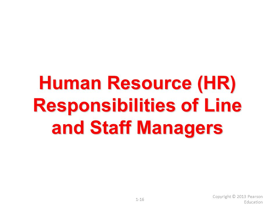 Human Resource (HR) Responsibilities of Line and Staff Managers