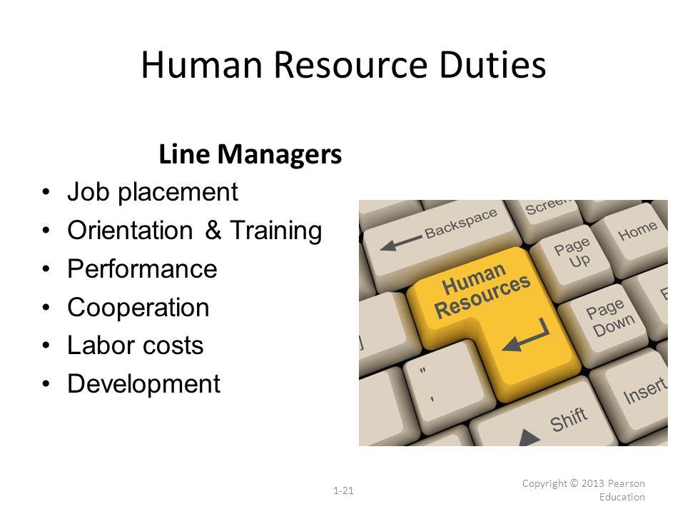 Human Resource Duties Line Managers Job placement