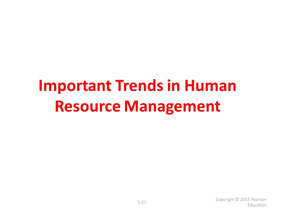 Important Trends in Human Resource Management