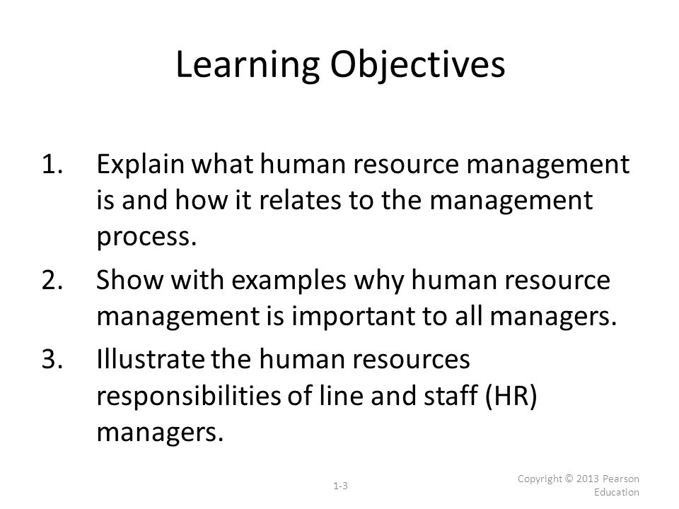 Learning Objectives Explain What Human Resource Management Is And How It  Relates To The Management Process  Human Resource Examples