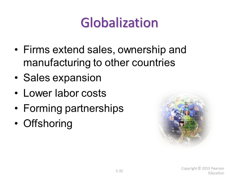 Globalization Firms extend sales, ownership and manufacturing to other countries. Sales expansion.