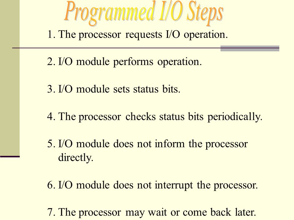 Programmed I/O Steps The processor requests I/O operation.