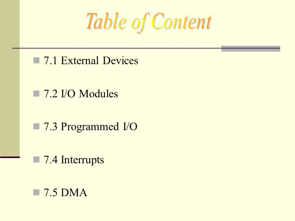 Table of Content 7.1 External Devices 7.2 I/O Modules