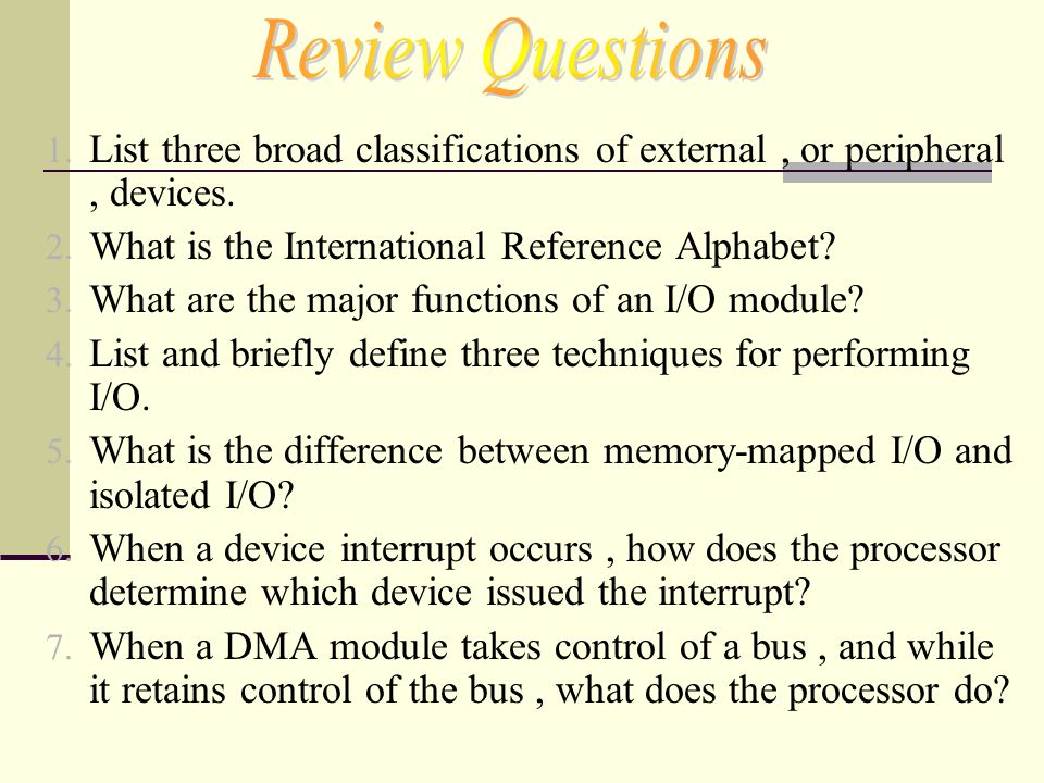 Review Questions List three broad classifications of external , or peripheral , devices. What is the International Reference Alphabet