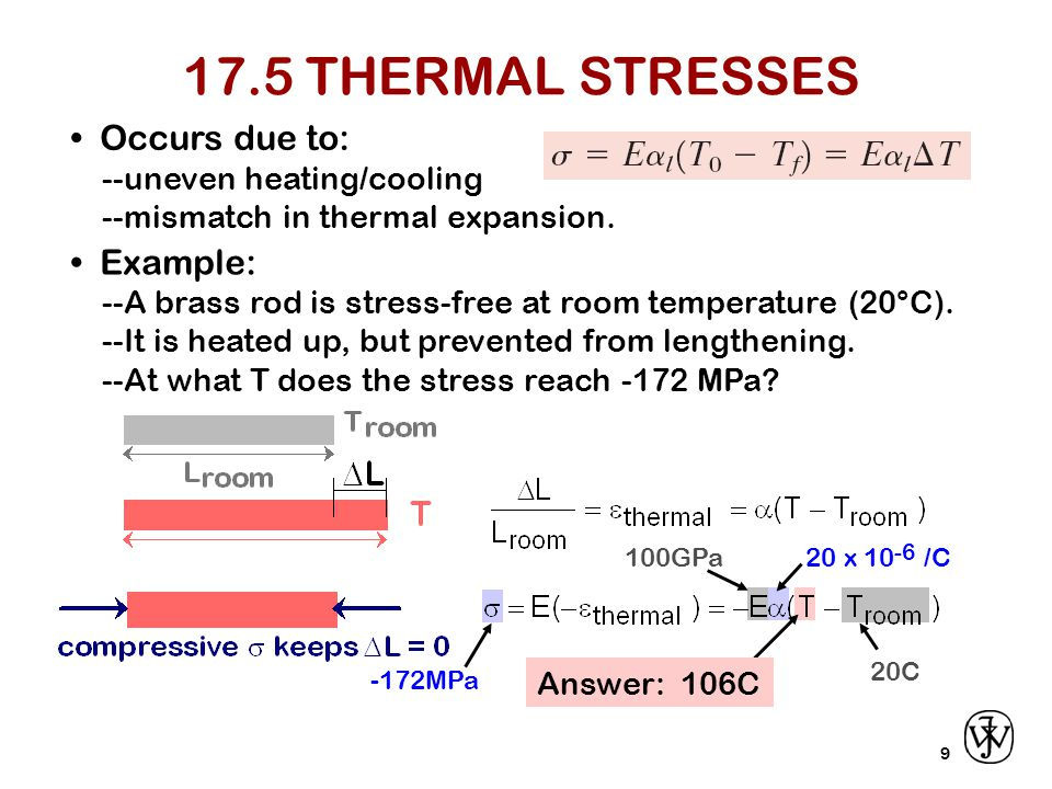 17.5 THERMAL STRESSES • Occurs due to: • Example: