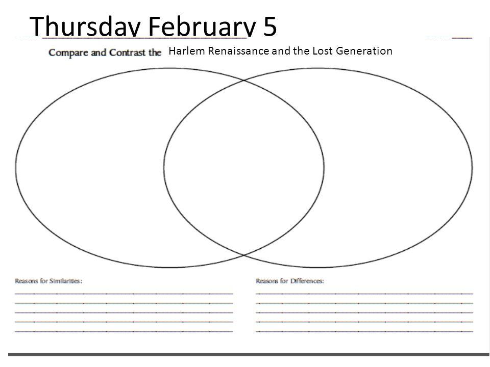 Thursday February 5 Harlem Renaissance and the Lost Generation