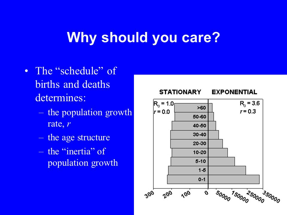 Why should you care The schedule of births and deaths determines: