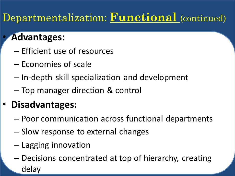 Departmentalization: Functional (continued)