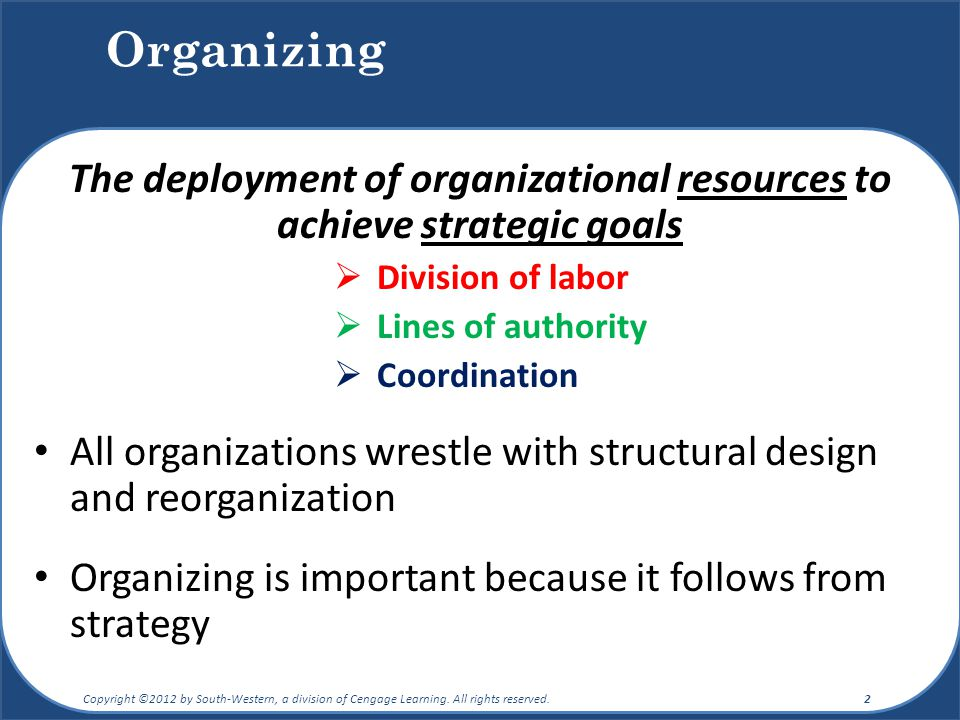 The deployment of organizational resources to achieve strategic goals