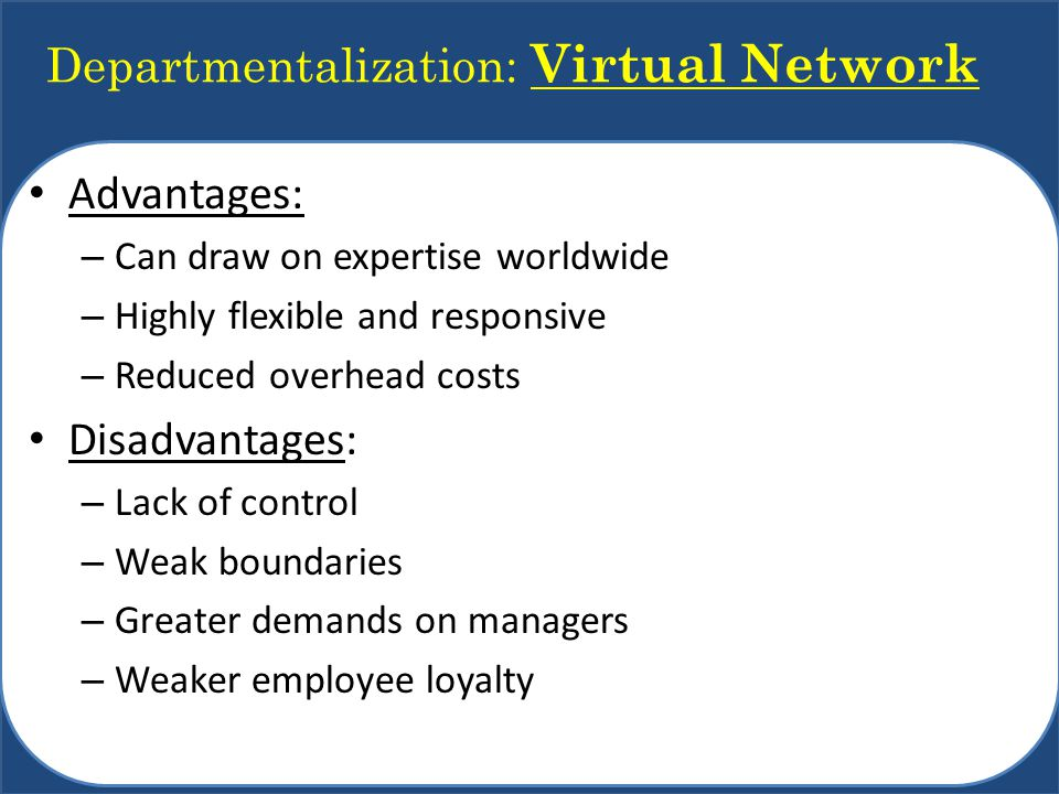 Departmentalization: Virtual Network