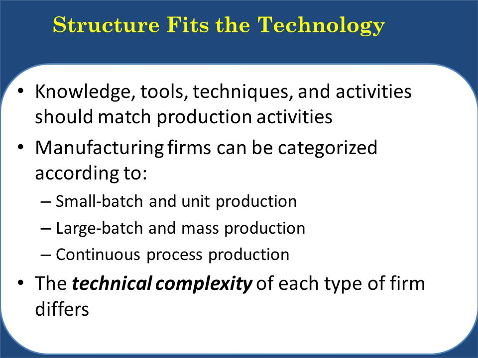 Structure Fits the Technology