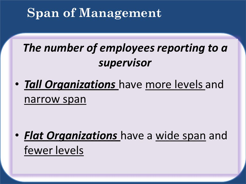 The number of employees reporting to a supervisor