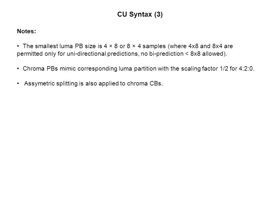 CU Syntax (3) Notes: