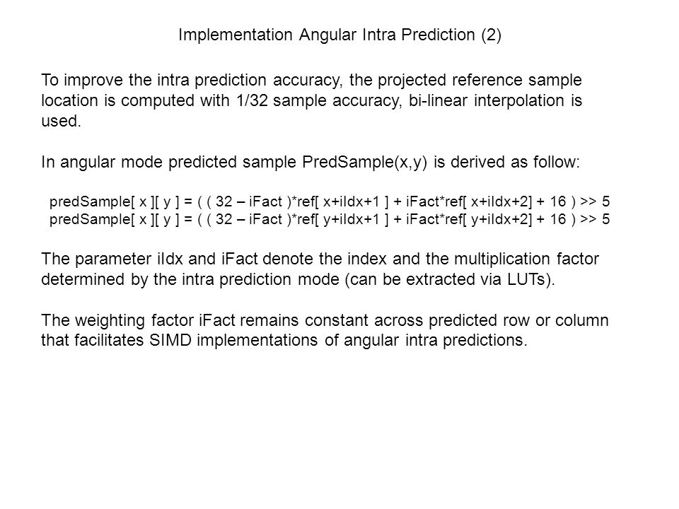 Implementation Angular Intra Prediction (2)