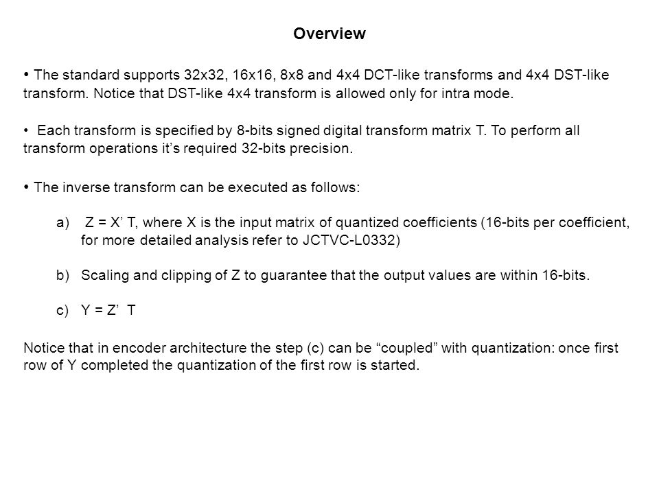 The inverse transform can be executed as follows: