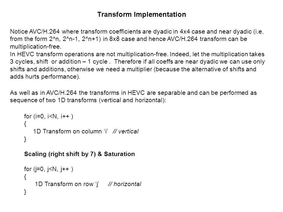 Transform Implementation