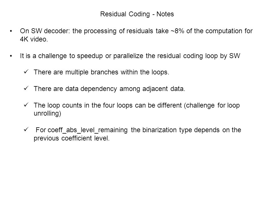 Residual Coding - Notes