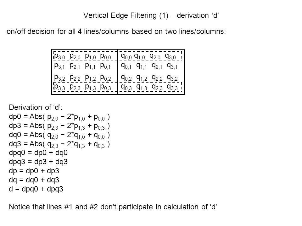 Vertical Edge Filtering (1) – derivation 'd'