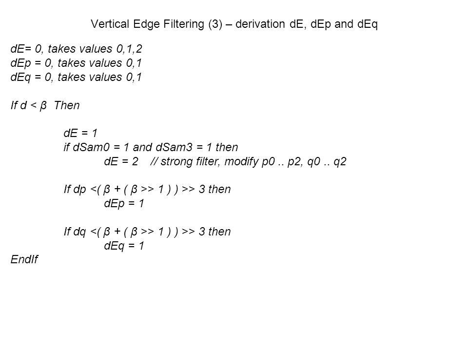 Vertical Edge Filtering (3) – derivation dE, dEp and dEq