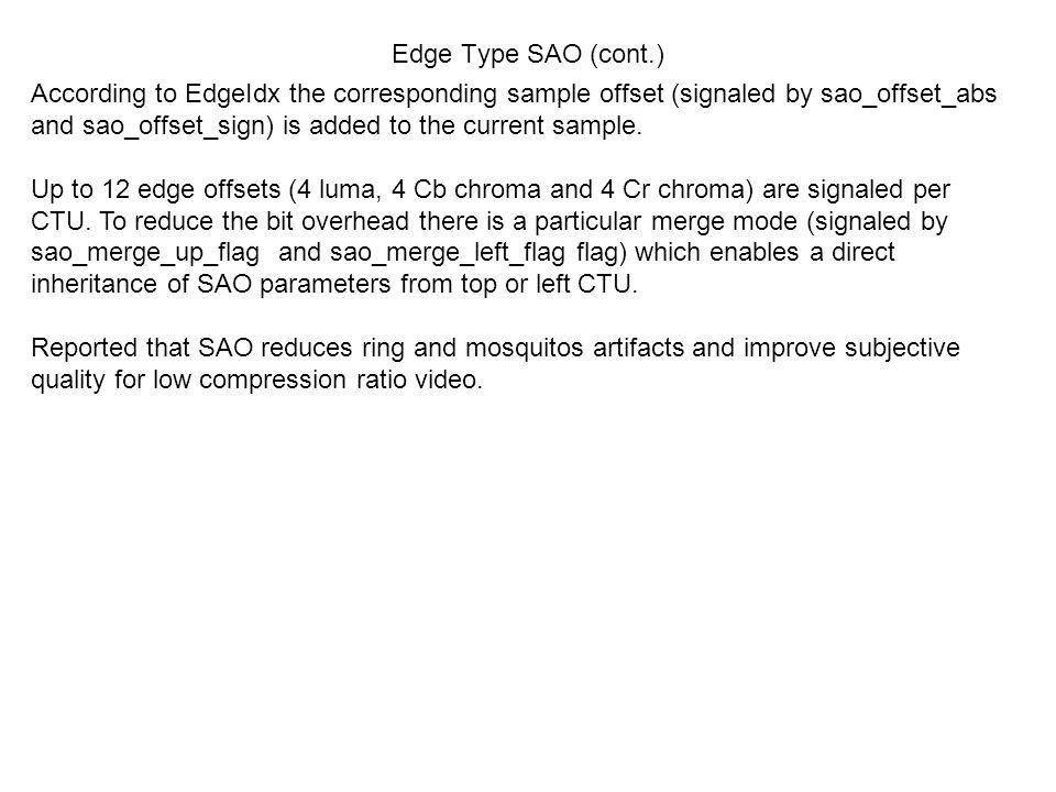 Edge Type SAO (cont.)